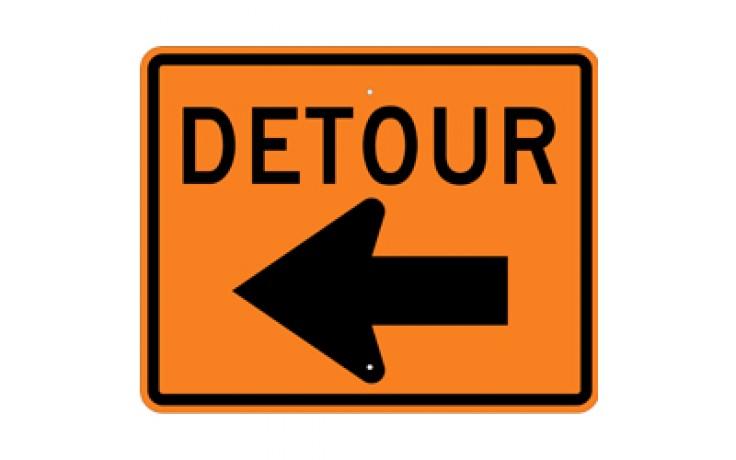 """DETOUR (1) - Construction Signs - 30""""x24"""""""