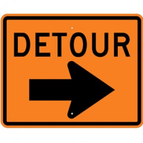 "DETOUR (2) - Construction Signs - 30""x24"""