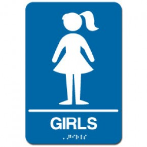 Indoor Braille GIRL'S RESTROOM Sign