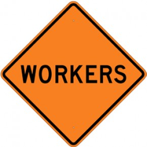 """Workers (1) - Construction Signs - 30""""x30"""""""